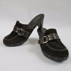 Coach Brown Raina Slip On Clogs Suede Studded 9.5B